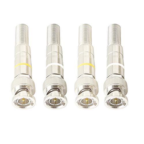 Conector de vídeo BNC, Q9 sin soldadura RG59 RG6 Conector de cable coaxial KANGPING, para cámaras de vigilancia de seguridad en el hogar, cable coaxial de transmisión de vídeo (paquete de 4)