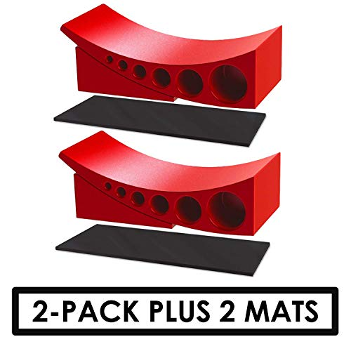 Andersen Hitches 3604 x2 Plus 2 Authentic Rubber Mats to Prevent Slipping on Grass, Concrete, Sand | 2-Pack Camper Leveler & Chock Set | Best Camper Leveling Kit | RV Leveling