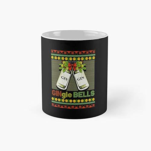 Gin-gle Bells Ugly Christmas Sweater Classic Mug | Mejor regalo divertido tazas de café 11 oz