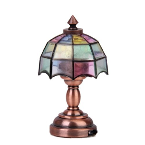 rosenice 1/12casa de muñecas en miniatura paraguas forma lámpara LED lámpara de mesa luz