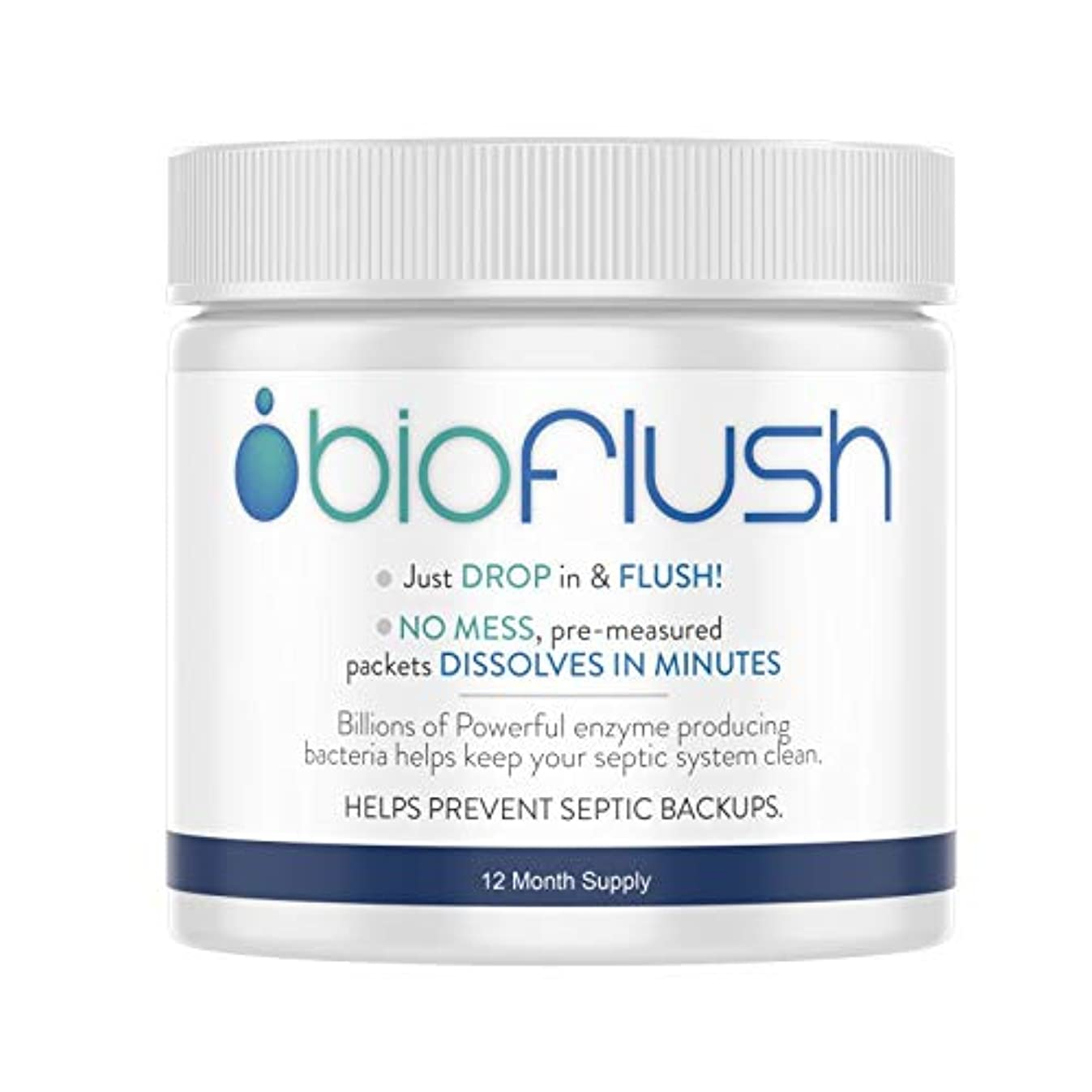 Bioflush Natural Septic Tank Treatment (1-Year Supply - 12 packets) - Safe for Toilets, Sinks, Showers and Garbage Disposal Drains - Pre-Measured for Easy Use - Made in the USA, Dissolves in Minutes