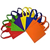10x10 Inch Flat Reusable Gift Bags with Handles, Eco Friendly Tote Bags, Party Favor Bags For Kids Birthday Parties, Multi Color, Bright Neon Colors 12 Pcs