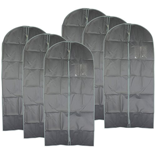 COM-FOUR® 6x kledingtas, kledinghoes met rits en kijkvenster, beschermhoes voor transport en opslag van shirts, pakken en jassen