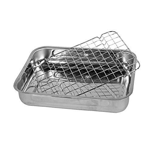 EUROXANTY Teglia da forno   teglia da forno con griglia   teglia in acciaio inox   per arrostire   35 x 25 cm