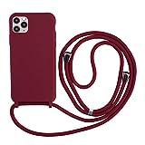 Funda para Iphone 11 Pro, con cordón para colgar, de silicona, con cordón para colgar, color turquesa, silicona, rojo, Iphone 11 Pro