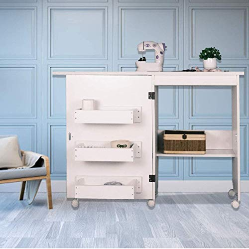 Sewing Table with Storage, Foldable Sewing Extension Table Art Craft Desk with Adjustable Shelf Hidden Bins, Cabinet with Lockable Casters, Open/Fold Size: 46'x16'x31'/23'x16'x31', White