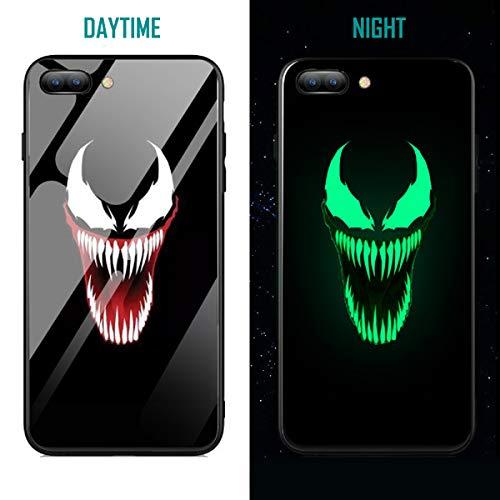 Capa híbrida de vidro temperado de luxo assustadora super-simbionte Hero Luminous Fashion para iPhone X 7 8 6 6s Plus XS iPhone XR iPhone XS MAX, iPhone Xs Max