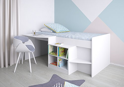 Polini Kids Kinderbett Hochbett mit Schreibtisch und Regal Weiß