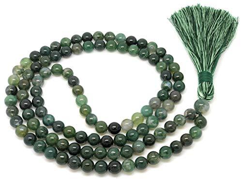 Givereldi pulsera de collar de cuentas de mala ágata de musgo 108 cuentas de 8 mm - en una cuerda lisa más 1 cuenta de gurú grande - piedra de nacimiento, equilibrio energético, oración, meditación