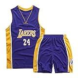 GAOXI Jersey para niños-Laker 24# Camiseta de Baloncesto Bordado Transpirable Baloncesto Suelto y cómodo Chaleco sin Mangas Traje XS-XXL Purple-L