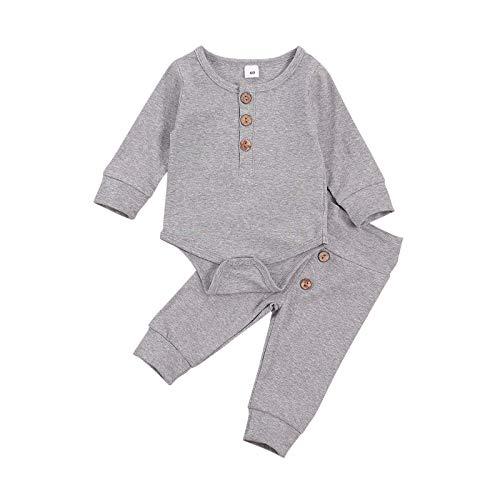 MoccyBabeLee Conjunto de 2 piezas de ropa para bebé recién nacido, de algodón de manga larga, mameluco con cordón, pantalones y pantalones