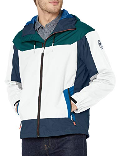 Perry Ellis - Men's Outerwear Men's Water Resistant Hooded Active Jacket, Deep Sea, M