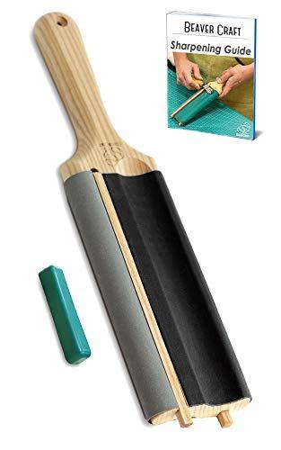 BeaverCraft LS5 Abziehriemen Hohleisen zum Holzschnitzen Hakenmesser Streichriemen Set Lederabziehriemen Werkzeuge zum Löffelschnitzen Set zum Schärfen mit Poliermittel