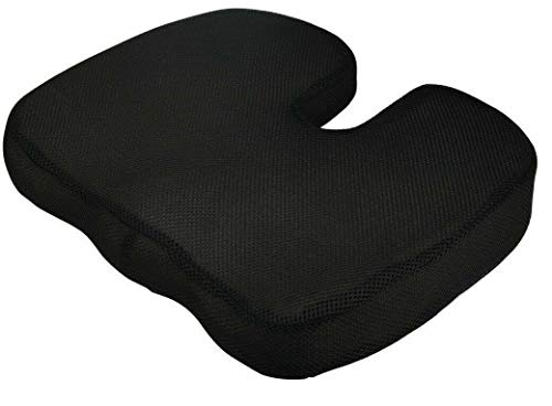 Textile Arena HARLEY STREET Memory Foam Coccyx Cushion for Lower Back Portable Seat Pad for Office, Home, Car, Wheelchair Seat Cushion Black
