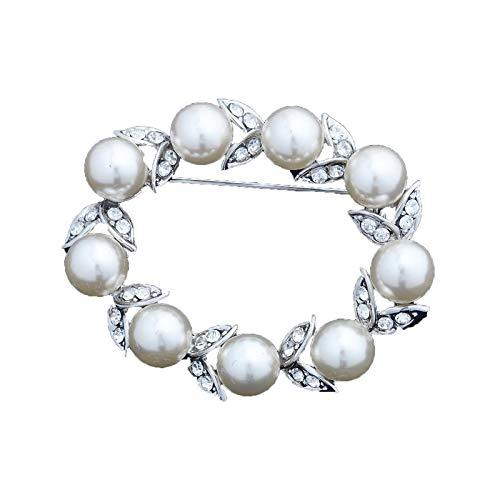 WANGJIAHAO Diamantkranzbrosche, Perlenabzeichen-Anstecknadel, Pullover-Ansteckbrosche, Kragenanstecknadel