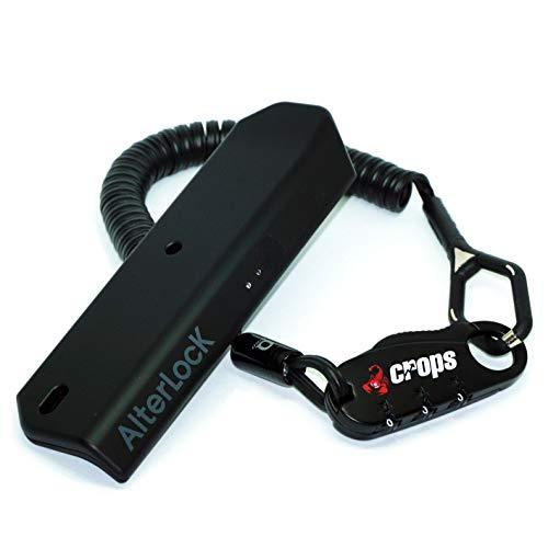 【セット販売】AlterLock(オルターロック) 盗難防止・振動検知アラーム・GPS追跡 & crops(クロップス) ダイヤルロック Q-BIRO(キュー・バイロ) 400mm(伸縮1800mm) ブラック CP-SPD04-BR-01