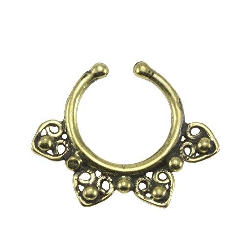 7mm 0.3 Street Habit Brass Ornate Swirl Design 18G Septum Ring Inner Hoop with Adjustable Opening