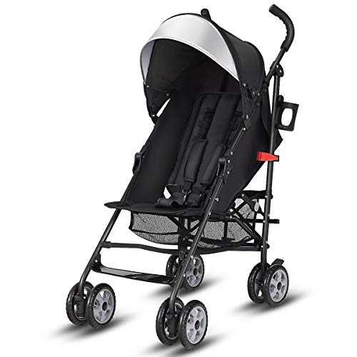 BABY JOY Lightweight Stroller, Aluminum Baby Umbrella Convenience Stroller, Travel Foldable Design with Oxford Canopy/ 5-Point Harness/Cup Holder/Storage Basket, Deluxe Black