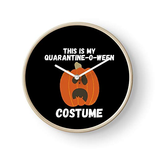 Ween Quarantine Virtual Bat Witches Dog My Quarantined Scary Cat Meme Cute O Halloween First Wall Clock Excellent Accurate Sweep Movement Glass Cover, Decorative for Kitchen, Living Room, Bathroom,