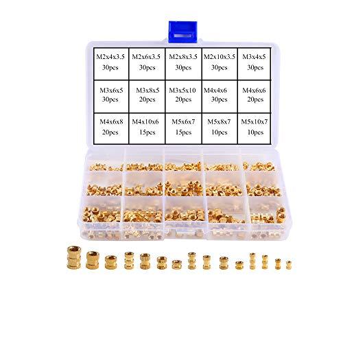 KINDPMA 330pcs Gewindeeinsatz M2 M3 M4 M5 Einpressmutter Innengewinde Rändelmuttern Messing Einbettung Muttern Sortiment für Spritzguss 3D Drucker, Female Thread Nut mit Box