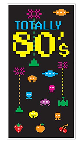 Totally 80s Door Cover with 8 Bit Gaming Theme. Transform a bland white door into an attractive party display.