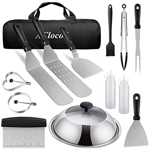 Flat Top Griddle Accessories Kit,Grill Spatula Set Compatible with Blackstone,12 Inch Visible Basting Cover Cheese Melting Dome,Stainless Steel Griddle Scraper for Indoor,Outdoor,Camping or Cooking