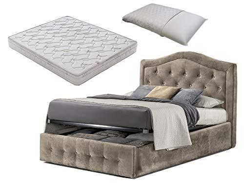 Cama de plaza y media con caja de almacenamiento de terciopelo beige con diseño + colchón de plaza y media 120 x 190 cm de espuma viscoelástica + almohada de espuma viscoelástica desenfundable