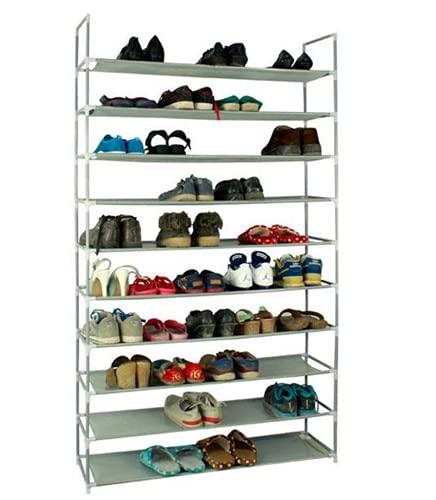 DYBITTS Zapatero ajustable de 10 niveles, estante organizador de zapatos con estantes de tela no tejida, resistente al agua, montaje rápido, almacenamiento de zapatos (gris)