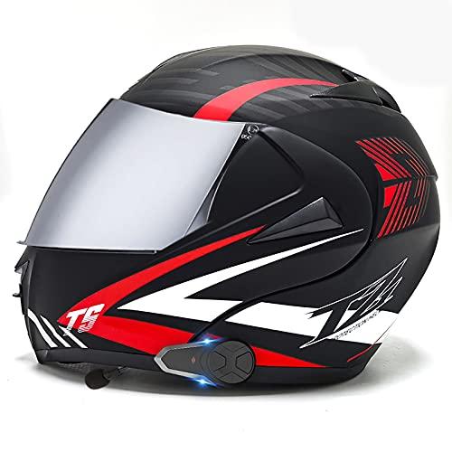 Casco motocicleta modular con Bluetooth, casco de moto integral,aprobado DOT/ECE ligero,Walkie talkie con doble visera,cascos de motocross Con FM para hombres mujeres adultos K,M=57-58CM