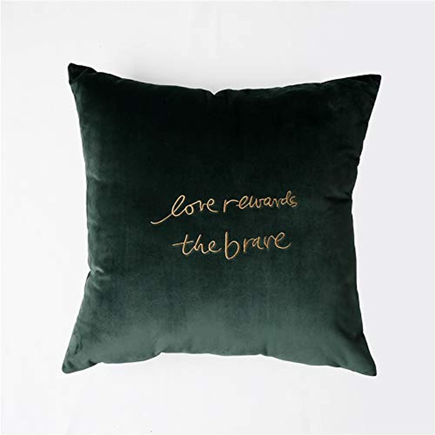 LLIND Home Nordic Netherlands Velvet Solid color Embroidery Pillow Modern Minimalist Fabric Sofa Cushion Cushion (color   Olive Green Black)