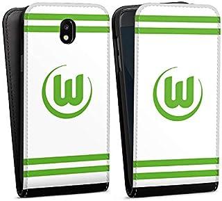 DeinDesign Flip Case kompatibel mit Samsung Galaxy J5 2017 Tasche Hülle VFL Wolfsburg Offizielles Lizenzprodukt Streifen
