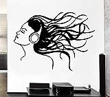 LovelyHomeWJ Auriculares Música Cabello Fresco Decoración para el hogar Chica Rock Pop Canción Calcomanías de Pared Sala de Estar Dormitorio Moda Decoración 77x56 cm