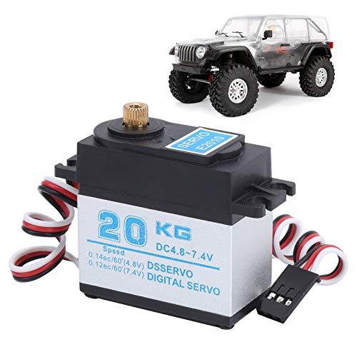 20KG Servomotor, RC Digital Servo Metallgetriebe Servo High Torque Servo Silber Hochpräzises Leichtgewicht für 1/8 und 1/10 ferngesteuertes Auto