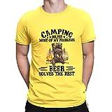 Camping Resuelve la mayoría de mis problemas cerveza resuelve el resto camiseta vintage camiseta unisex para hombres y mujeres
