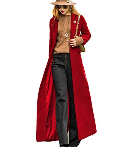 S&S-women Sweet Heart Solid Splicing Lapel Double Breasted Side Pocket Wool Pea Coat (Large, Red-2)