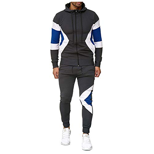Pistaz - Chándal para hombre, estampado de rayas de otoño, conjunto de pantalones de deporte, traje de deporte, para hacer deporte, con contraste