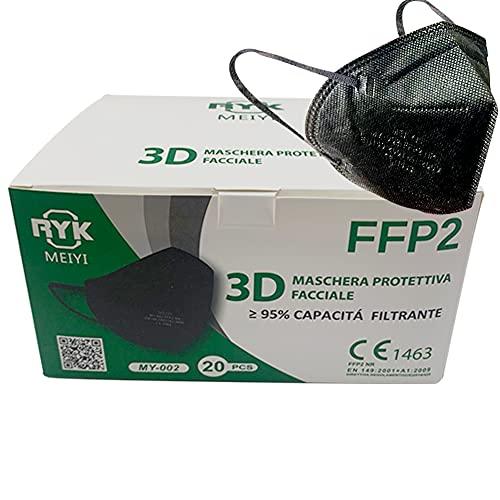HOME KOKO LOOK Mascherine nere FFP2 20 Certificate CE 1463 BFE>95 5 STRATI Mascherina colorate DPI conforme EN 149:2001+A1:2009 confezionata singolarmente