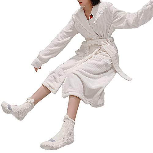 YDYBY Vestaglia da Donna Invernale, Pigiama Lunga Morbido con Cintura Tasca Pizzo da Ricamo Camicie da Notte Kimono Ultra Confortevole Vestiti Sleepwear,Bianca,XL