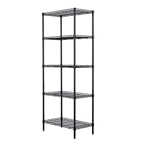 Adjustable Shelf Wire Shelves Metal Shelves 6/5/4/3 Tier Heavy Duty Shelving Units and Storage Rack Organizer for Kitchen Garage Closet Pantry Laundry Bathroom (5-Tier Black)