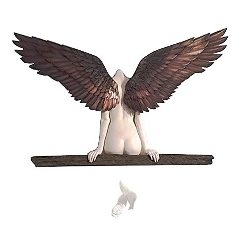Angel Art Sculpture Wall Decoration of Icarus Had A Sister 3D Angel Wings Wall Decor, Home Art Figurine Exquisite Decoration (Small)
