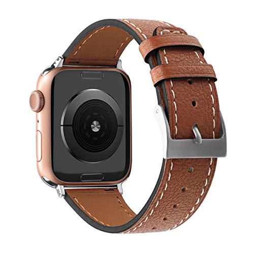 AISPORTS Compatible con Apple Watch Correa 40mm 38mm Cuero para Mujeres Hombres,Vintage Hybrid Correa de Repuesto de Pulsera con Hebilla Clásica de Metal para Apple Watch SE/iWatch Series 6/5/4/3/2/1
