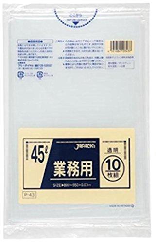 業務用ポリ袋 45L 透明 10枚×60袋入 P-43