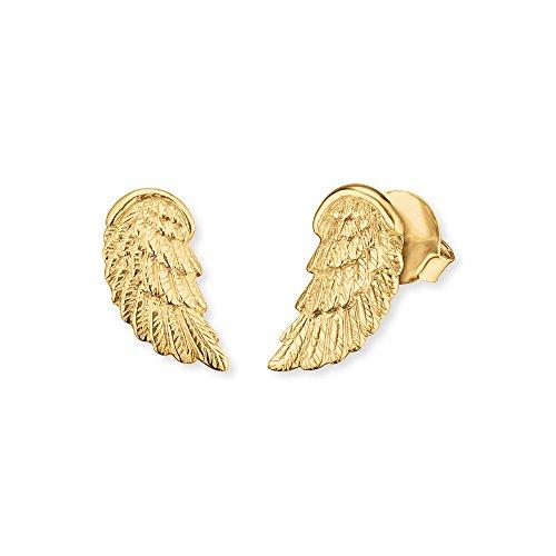 Engelsrufer Engelsflügel Ohrstecker für Damen 925er-Sterlingsilber vergoldet 17,5 mm