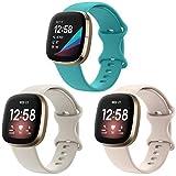 CAVN Correa Compatible con Fitbit Versa 3 / Fitbit Sense Correa, 3 Pack Correa Deportiva clásica de Silicona Suave para Reloj Inteligente para Sense/Versa 3