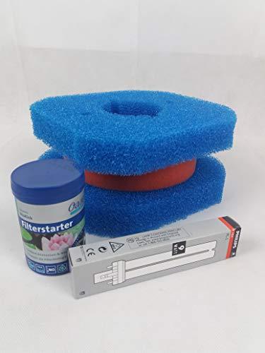 Pondlife Wartungspaket Filterschwamm Ersatz-Set für Oase FiltoClear 3000 / 2X blau + 1x rot + 1x 9 Watt-Leuchte + Oase Biokick