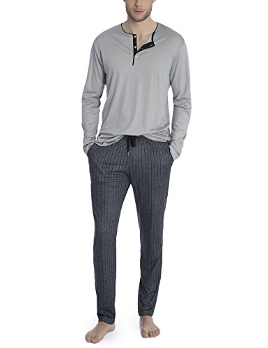 CALIDA Herren Elay Daily Functionw Zweiteiliger Schlafanzug, Grau (Wet Grey 993), X-Small (Herstellergröße: XL)