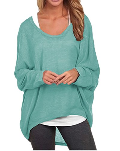 ZANZEA Women's Batwing Sleeve Off Shoulder Loose Oversized Baggy Tops Sweater Pullover Casual Blouse T-Shirt Green US 18-20/Tag Size 3XL
