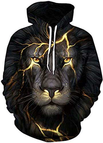 Cooleader Hoodie for Men Black Lightning Lion Print Hooded Jumpers Casual 3D Patterned Hoody Sweatshirt with Pocket for Party M
