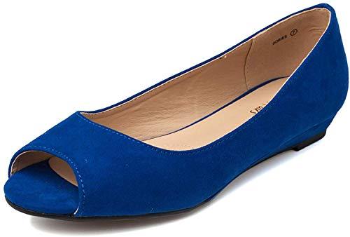 DREAM PAIRS Damen Peeptoe Ballerinas Flache Dories Königsblau Größe 37.5 EU / 6.5 US