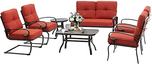 Betterland Outdoor Furniture 7Pcs Patio Conversation Sets (Loveseat, Coffee Table & Bistro Table, 2 Spring Chairs, 2 Single Chairs) Wrought Iron Frame Patio Metal Lounge Chairs Set with Red Cushions